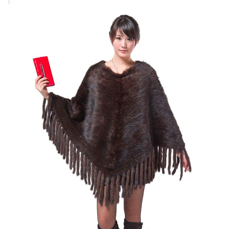 Mode manteau de fourrure De Vison tricot châle Femmes véritable tricot vison manteau