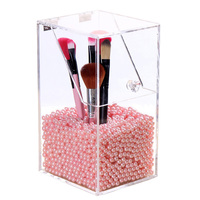 Large Size Clear Acrylic Makeup Pen Organizer DIY Brushes Holder Case Cosmetic Display Box Without Pearls
