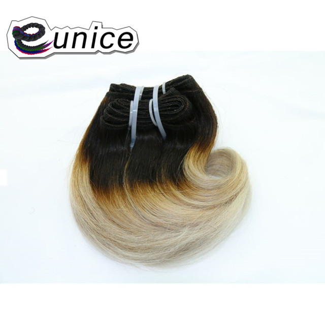 Body Wave Ombre Blonde 613 Synthetic Hair Weaves 8inch Short Hair