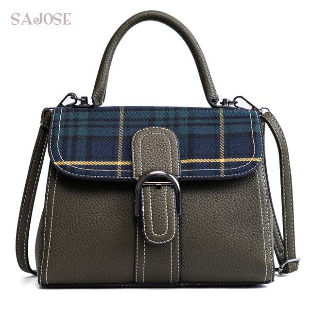 Women Leather Fashion Handbag High Quality Vintage Totes Bag Female  Shoulder Bag Lady Famous Brand Houndstooth 4891469d904f5