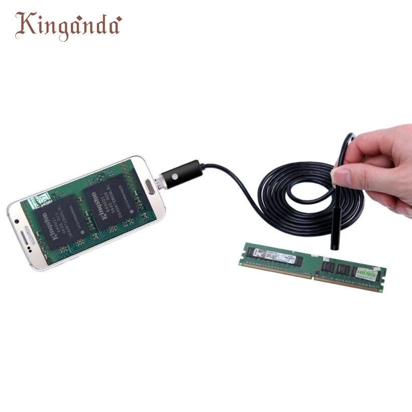 Ecosin2 Портативный 2 в 1 USB эндоскопа инспекционной 7 мм Камера 6 светодиодный HD IP67 Водонепроницаемый 10 м черный Android телефон Веб-камеры 17mar17