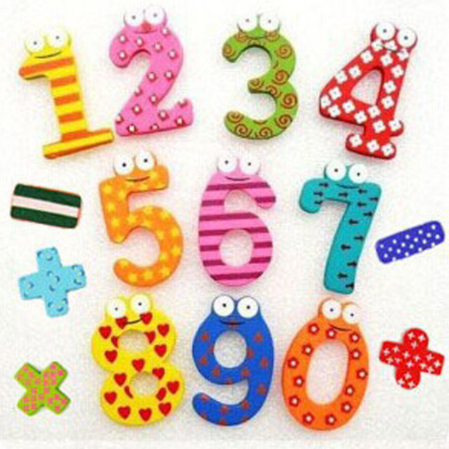 Party Gift Home Decor Multicolor  Wooden Fridge Magnet Educational Toy Symbol Alphabet Numbers  Cartoon Baby Kid  1