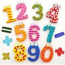 Presente de festa decoração para casa multicolorido de madeira geladeira ímã brinquedo educacional símbolo alfabeto números dos desenhos animados do bebê do miúdo