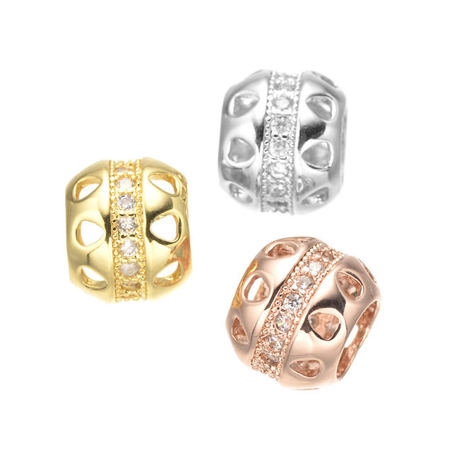 DIY Jewelry Spacer Beads Rhodium/Gold/Rose Gold High Quality Micro Pave White CZ Metal Hollow Beads CHF241