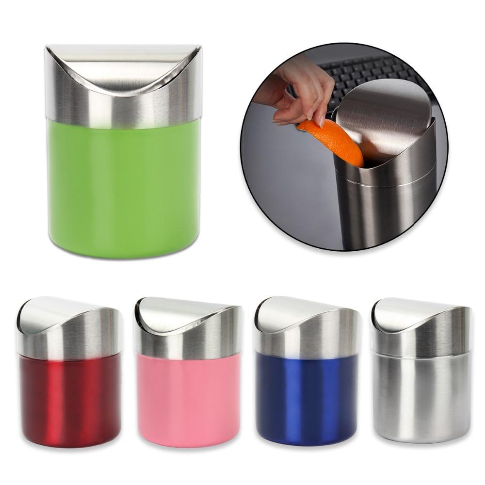 1.5 L Stainless Steel Mini Trash Bin Car DustBin Swing Lid Kitchen Worktop Desktop Small Waste Rubbish Trash Can