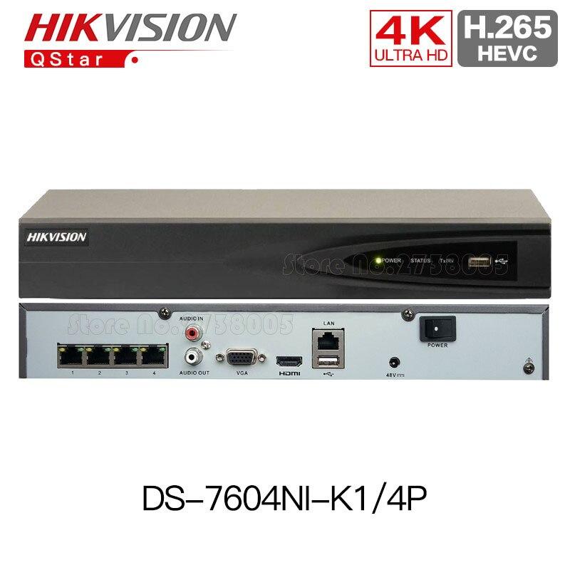 Hikvision H.265 4 K 4CH POE NVR DS-7604NI-K1/4 P Intégré Plug & Play 4 K NVR H.265 jusqu'à 8MP 4POE 4CH pour ip caméra CCTV Système