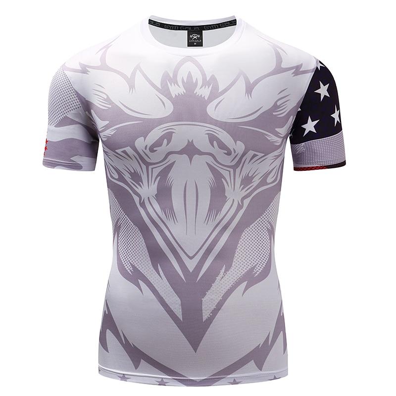 GYMGALA Summer wicking Mens Fitness T-shirt Stretch compression shirt fitness slim short sleeve Tops O-Neck Brands T-shirt