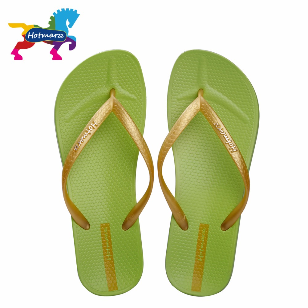 Hotmarzz Flip Flops Women Beach Grass Green Summer Fashion New Brand Solid Color Sandals Casual Flats Lady Slippers Shoes women jelly shoes candy sandals luxury brand summer beach flats bowknot shoes casual lady fashional envirionmental shoes female