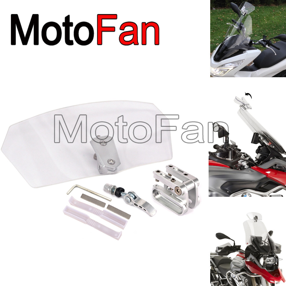 Motorcycle Windshield Airflow Adjustable Windscreen Extension Wind Deflector Unversal Decals For BMW KTM Puig Honda yamaha 49 45cm for 125cc 150cc motorcycle windscreen deflector wind deflector wind shield windscherm scooter free shipping