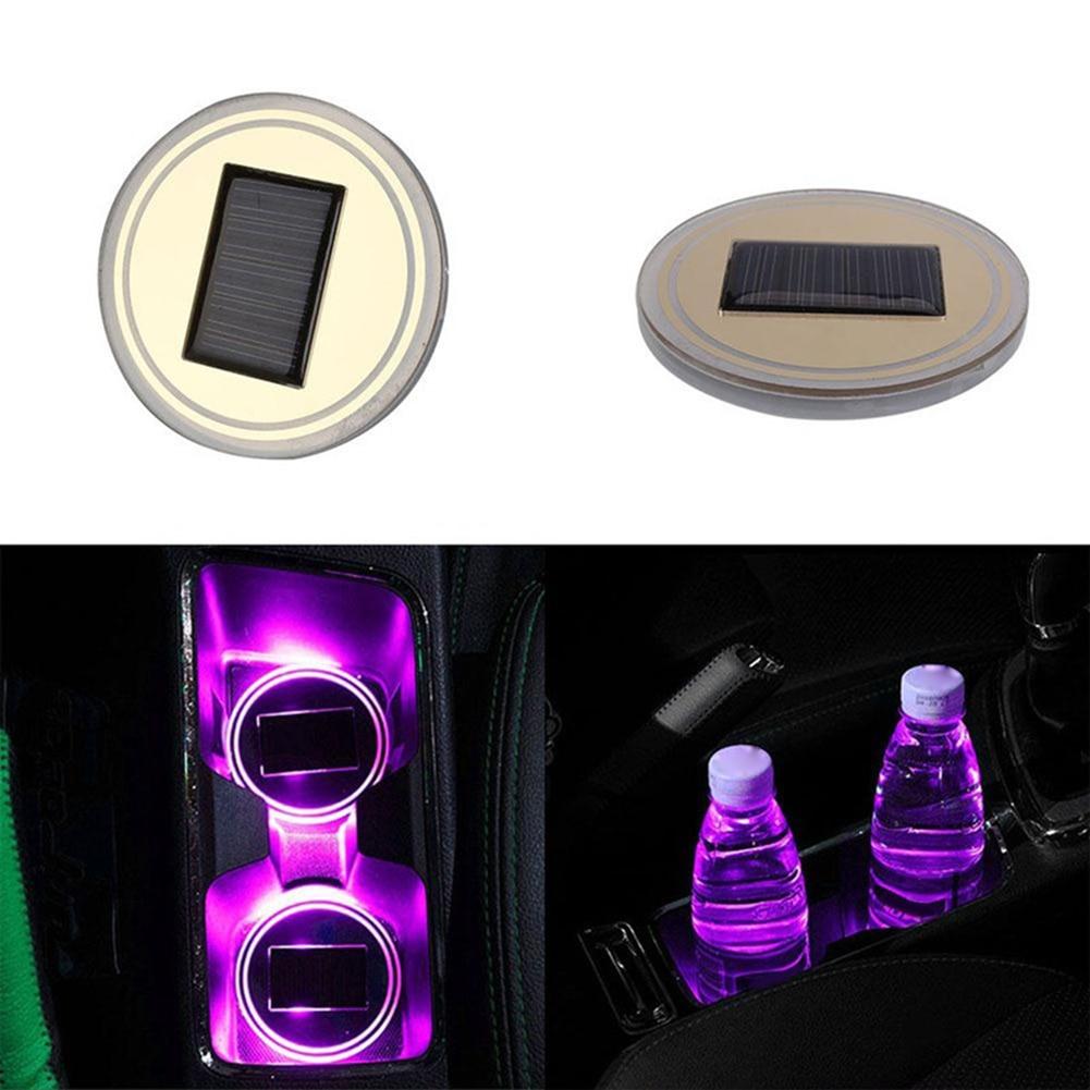 Car Auto Anti-slip Mat Solar LED Light Lamp Cup Holder Mat Bottle Pad Decoration