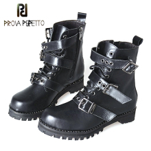 Prova Perfetto Autumn Winter Ladies Short Boots Belt Buckle Genuine Leather Gothic Punk Ankle Strap Motorcycle Combat Boots