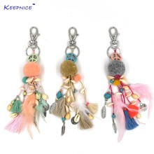 2017 new Fashion car key chains lanyards Key ring key finders feather tassel  keychains Pompous pendants bag rings key chains