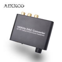 DAC Digital To Analog Audio Converter Optical Coaxial Toslink To Analog RCA 3.5mm Jack Adapter With Volume Control For AV Amp