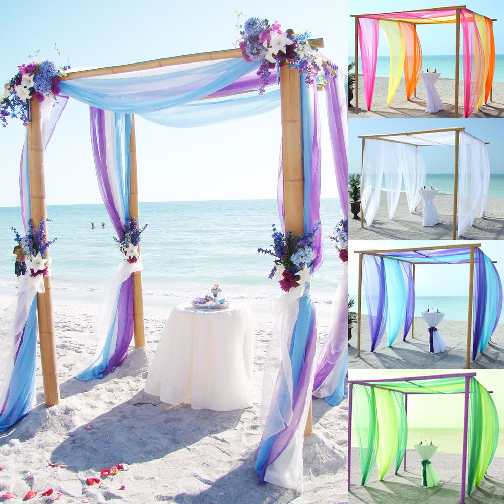 Beach Wedding Flower Ideas: 5m/10m Multi Colors Sheer Organza Fabric Beach Wedding