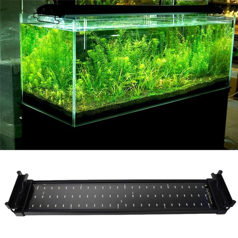 Fish Tank Aquarium <font><b>LED</b></font> <font><b>Lighting</b></font> 50CM-68CM Extendable Frame Lamp SMD 72 <font><b>Leds</b></font> 11W White + Blue 2 modes EU/US/UK Power Plug Adapter
