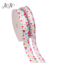 JOJO BOWS 25/38mm 5y Grosgrain Ribbon Love On White Printed Webbing For Clothing DIY Hair Bows Holiday Decoration Apparel Sewing