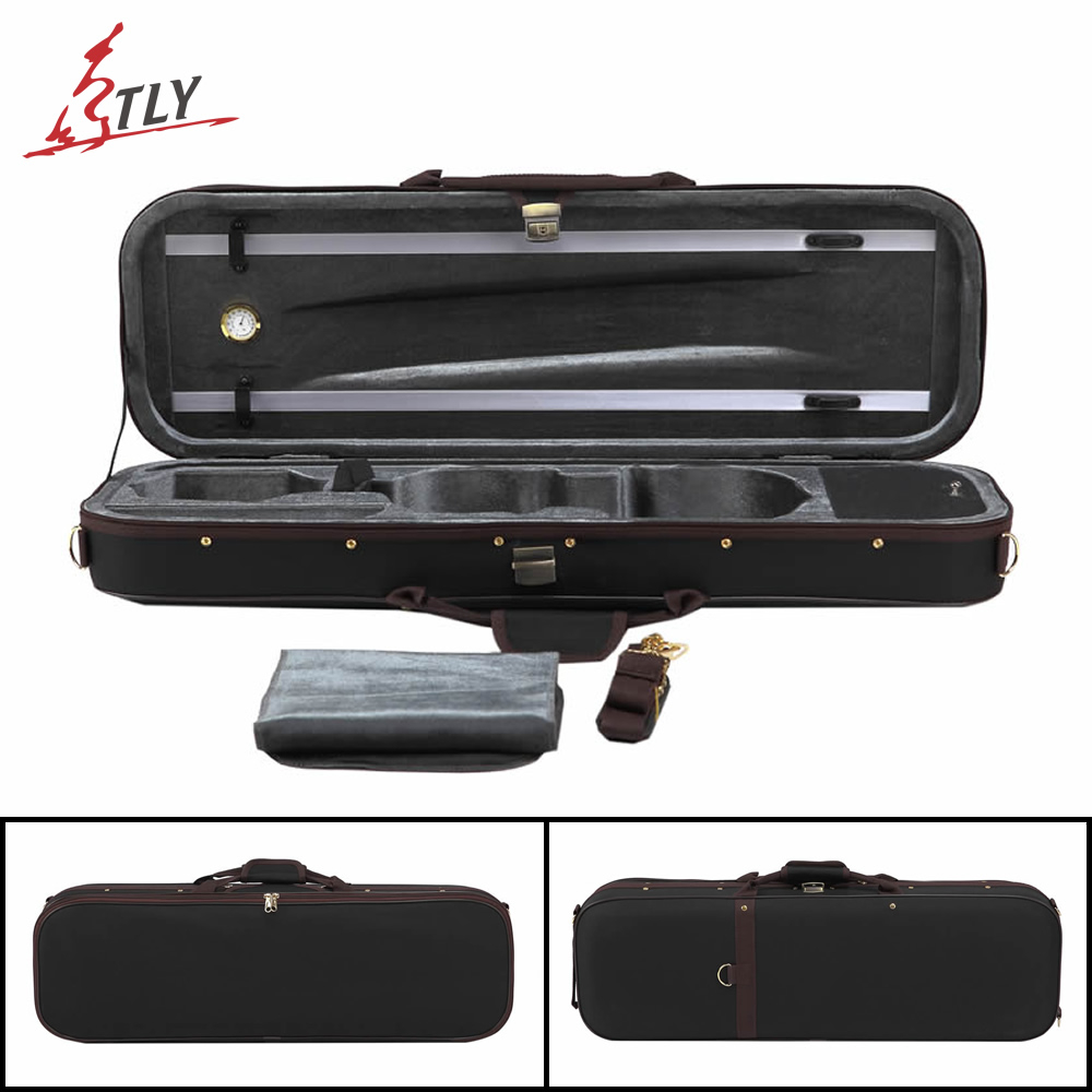 Free Shipping Black Oxford Pleuche High-end Rectangle Violin Case 4/4 W/ Hygrometer Violino Case