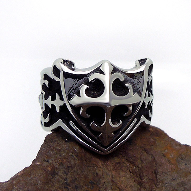 1pcs Europe fashion Polishing Cross pattern Scout flower Shield ring - Fashion Jewelry - Photo 2