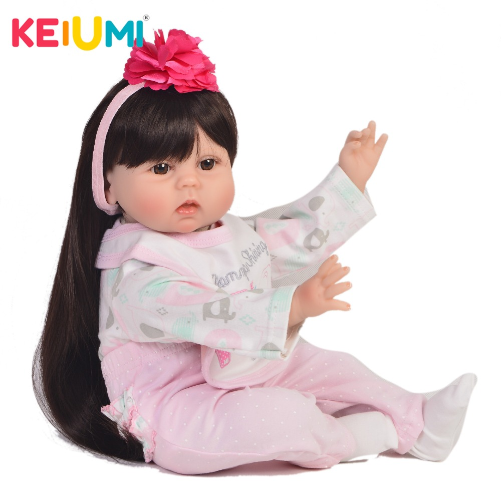 KEIUMI 22 Reborn Baby Doll Soft Silicone Body Realistic Girl Baby Toys Boneca PP Cotton Newborn Baby Dolls For Girls PlaymatesKEIUMI 22 Reborn Baby Doll Soft Silicone Body Realistic Girl Baby Toys Boneca PP Cotton Newborn Baby Dolls For Girls Playmates