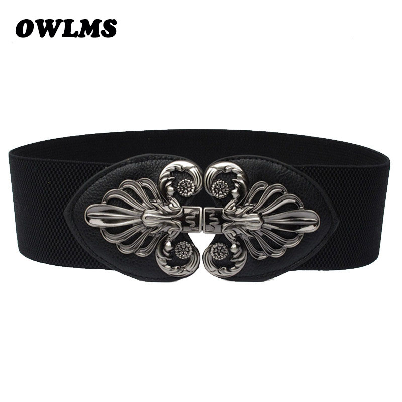 Elastic Cummerbund Metal Wide Design For Women Luxury Cummerbunds Double Buckle Black Waistband Waist Belt For Dress Woman Gifts