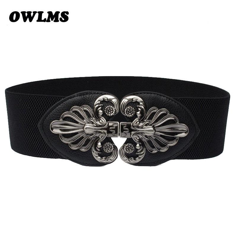 Elastic Cummerbund Metal Wide Design For Women Luxury Cummerbunds Double Buckle Black Waistband Waist Belt For Dress Woman Gifts
