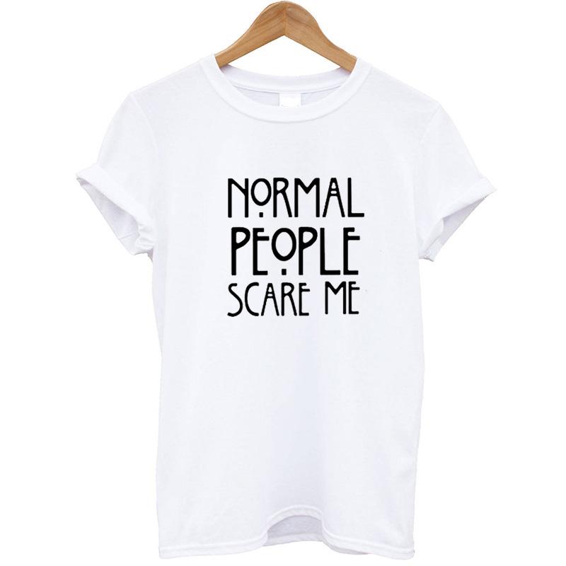 HTB1AhISay6guuRkSnb4q6zu4XXaC - Women Maroon T-shirt Cotton Normal People Scare Me Printed Funny Tshirt Women Short Sleeve Summer Tumblr Tops Camisetas Mujer