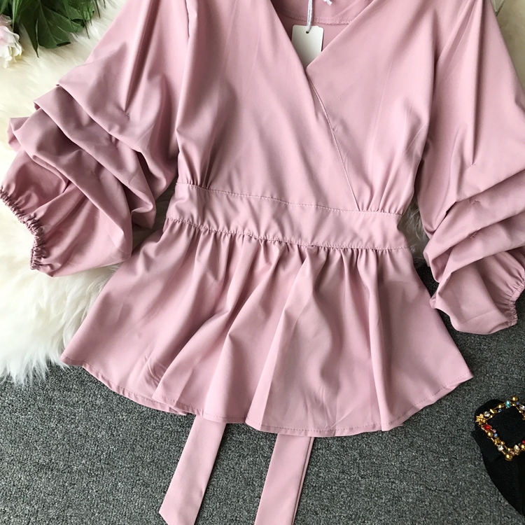 2109 Spring Women V-neck Puff Sleeves Blouse Slim Tunic Tops Retro Vintage Pullovers Busos Para Mujer Kimonos 84