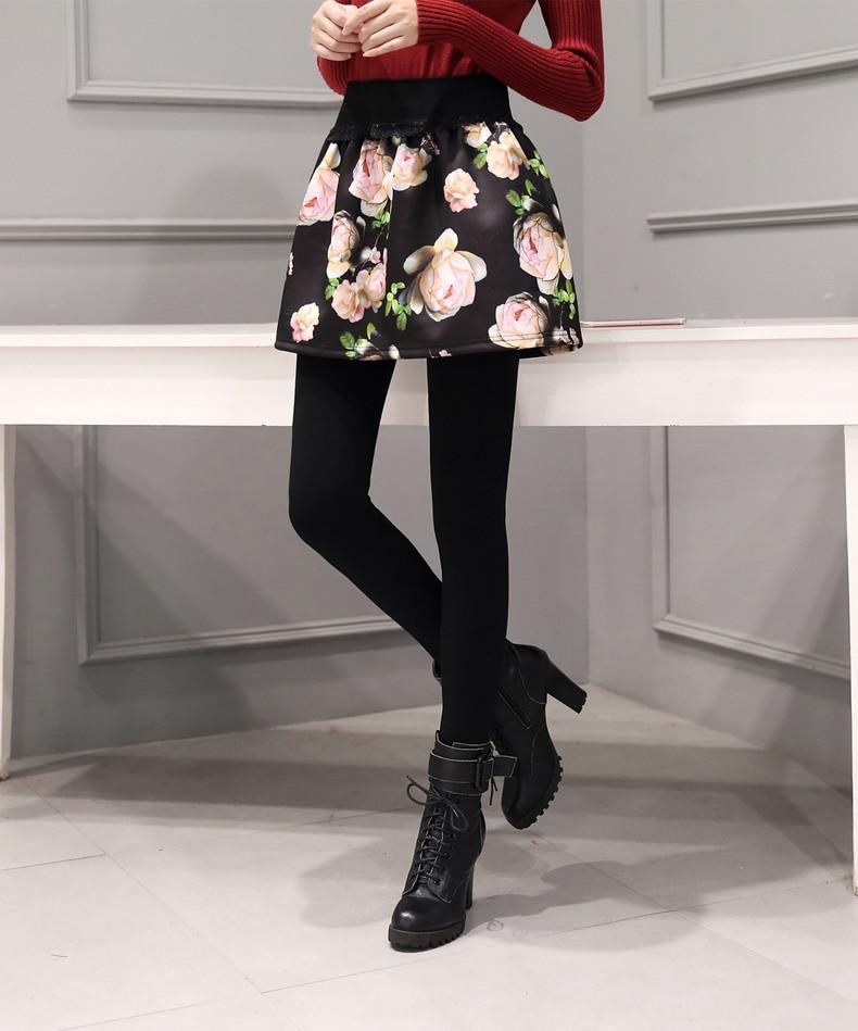 2017 Autumn and winter plus velvet padded fake two sets of leggings skirt pants