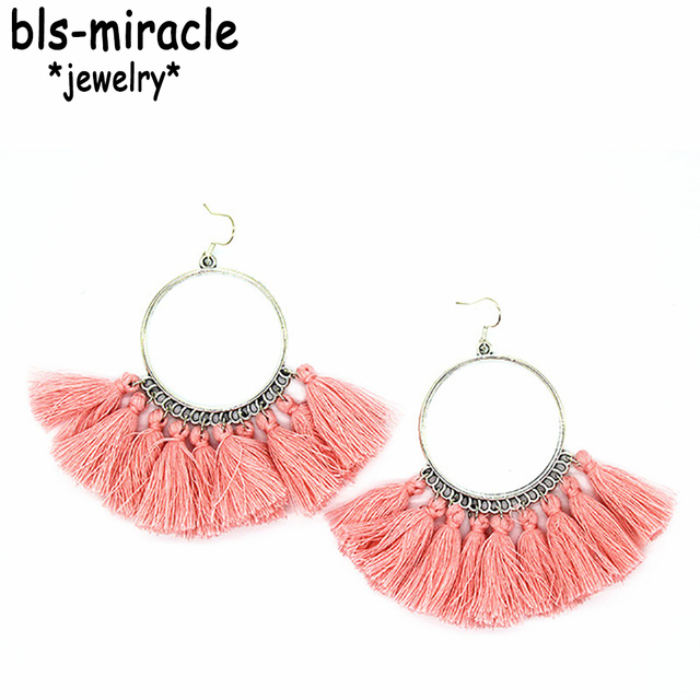 Bls-Miracle 8 Color Fashion Tassel Earrings For Women Bohemian Female Dangle Ear