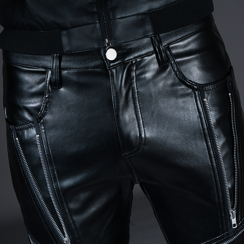 New Winter Spring Men's Skinny Leather Pants Fashion Faux Leather Trousers For Male Trouser Stage Club Wear Biker Pants 16