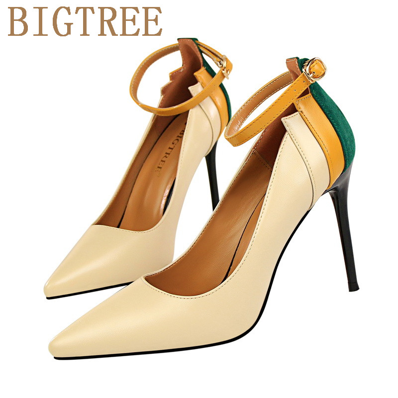 Brand Shoes Woman High Heels Women Pumps  Stiletto Thin Heel Pointed  Toe Patent leather Shallow One word band Womens Pumps цены онлайн