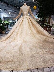 Image 3 - LS20329 ouro muçulmano vestidos de noiva de alta pescoço mangas compridas beads brilhante vestido nupcial do vestido de casamento com trem 2019 nova moda