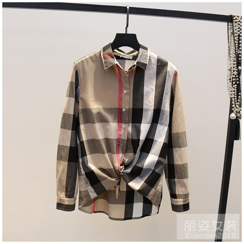 2018 Runway Designer Luxury Long Sleeve Shirts for Women British Plaid Shirt Casual Female Blouse Tops ...