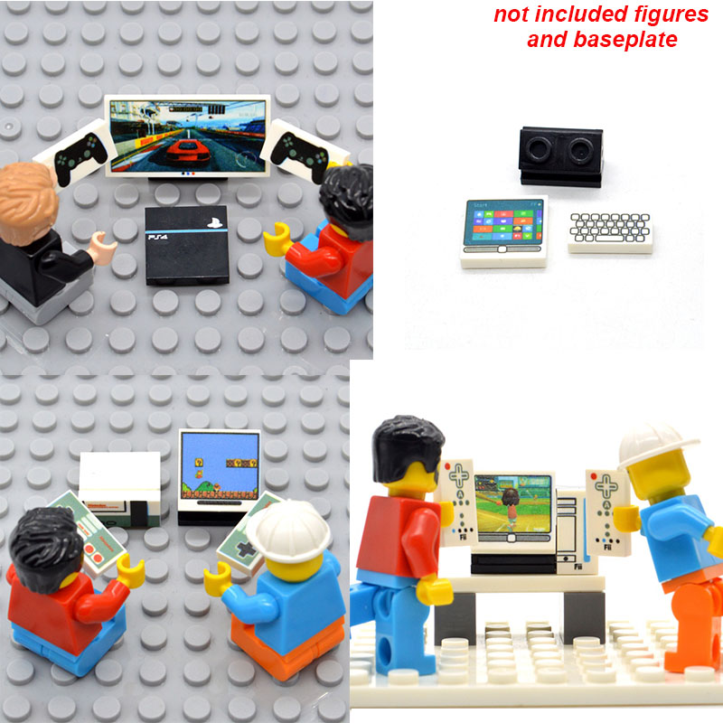 Set Printed Game Console Computer Mobile Phone 1*2 Bricks Tablet Pad Parts Building Blocks MOC City Toys for Children