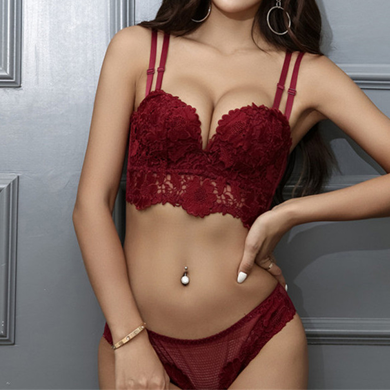 Europe Women Underwear Luxurious Lace Embroidery Bra Set Sexy Comfortable Seamless Padded Push Up Bra Sets And B Cup Lingerie