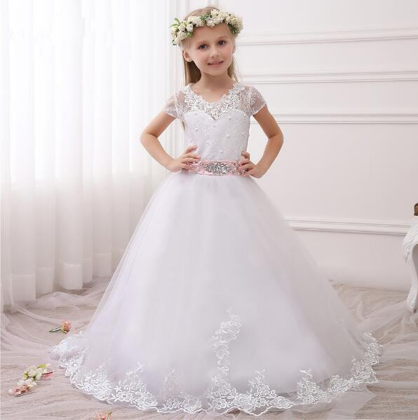 Hot Pretty Puffy White Lace Flower Girls Dresses with Sash 2017 Ball Gown Floor Length Girls First Communion Dress Party Dress 2018 purple v neck bow pearls flower lace baby girls dresses for wedding beading sash first communion dress girl prom party gown