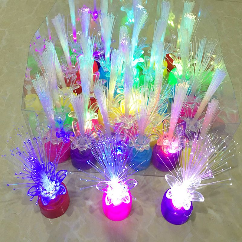 Mini Changing Colors Led Fiber Optic Lamp Rose Base Holiday Lights Wedding Christmas Party Lighting Decoration In Glow Supplies From Home Garden On