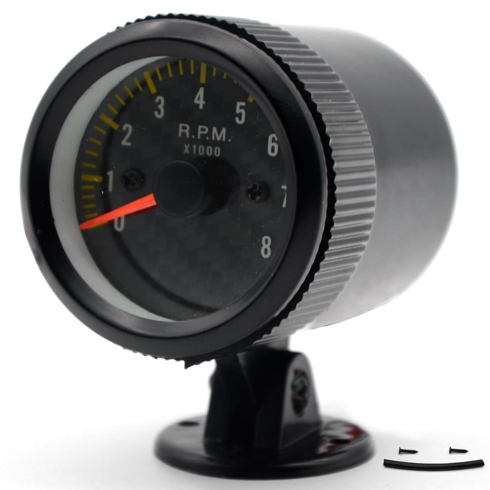 2 52mm Auto Car Tachometer gauge analog Carbon Fibre Face 0-8000 RPM White Background Light Black Bezel