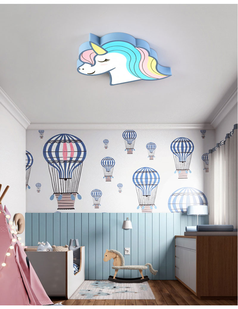 HTB1AhJHav1H3KVjSZFHq6zKppXau Unicorn kids room light led ceiling lights with remote control cartoon lampshade children room cute ceiling lamp deco child room