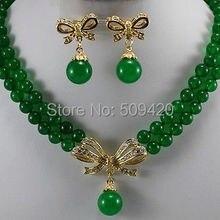 > 2 нити Новое желтое золото ювелирные изделия зеленый нефрит круглый ожерелье серьги