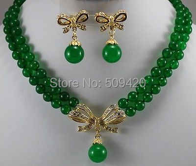 Wholesale >2Strands new Yellow Gold fine jewelry Green jade new Round Necklace Earring
