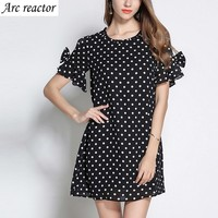 Dress Dot Design Falbala Round Collar Horn Sleeve Bowknot Hollow Out Summer Dress Plus Size 6XL