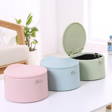 Fashion Mini Trash Can Creative Round Car Convenient Home Office Small Desktop Multi-function Push Cover Cute