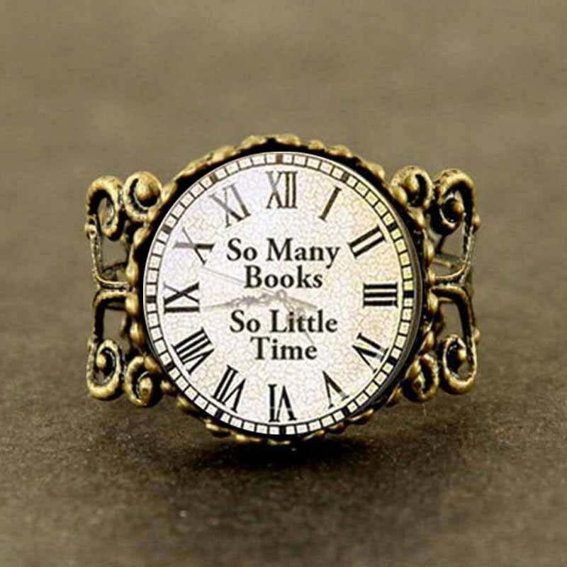 BOOK LOVER Art Ring Steampunk So many books So little Time new jewelry gift men women charm