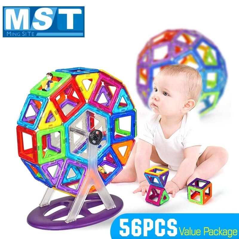 Bloques de construcción de juguete magnéticas para niños, juego de bloques de construcción de gran tamaño, diseño educativo, 56 Uds.