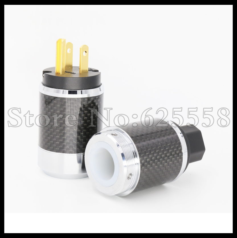 One pair   styel Gold Plated US Power Cord Plug Carbon fiber US AC power plug male and female for DIY Power cable free shipping one pair rhodium plated us mains power plug carbon fiber connector cable cord