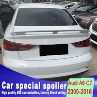 C7 A6 Spoiler Brake light high quality ABS Spoiler Rear Trunk Wing For Audi A6 C7 by 2005 2016 Universal spoiler primer paint