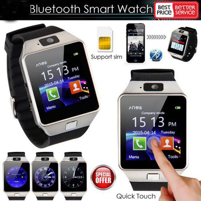 Reloj inteligente Bluetooth 100 Uds DZ09 llamada de teléfono Android Reloj 2G SIM TF cámara de tarjeta para iPhone Samsung Huawei GT08 A1