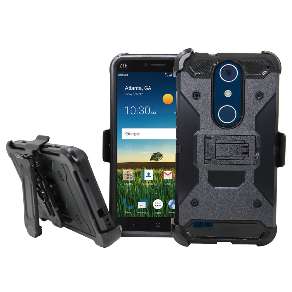 For ZTE Blade X Max Z983 Phone Case Dual Layer Hard Armor Case + Belt Clip  & Kickstand Holster Shockproof Impact Resistant Cover