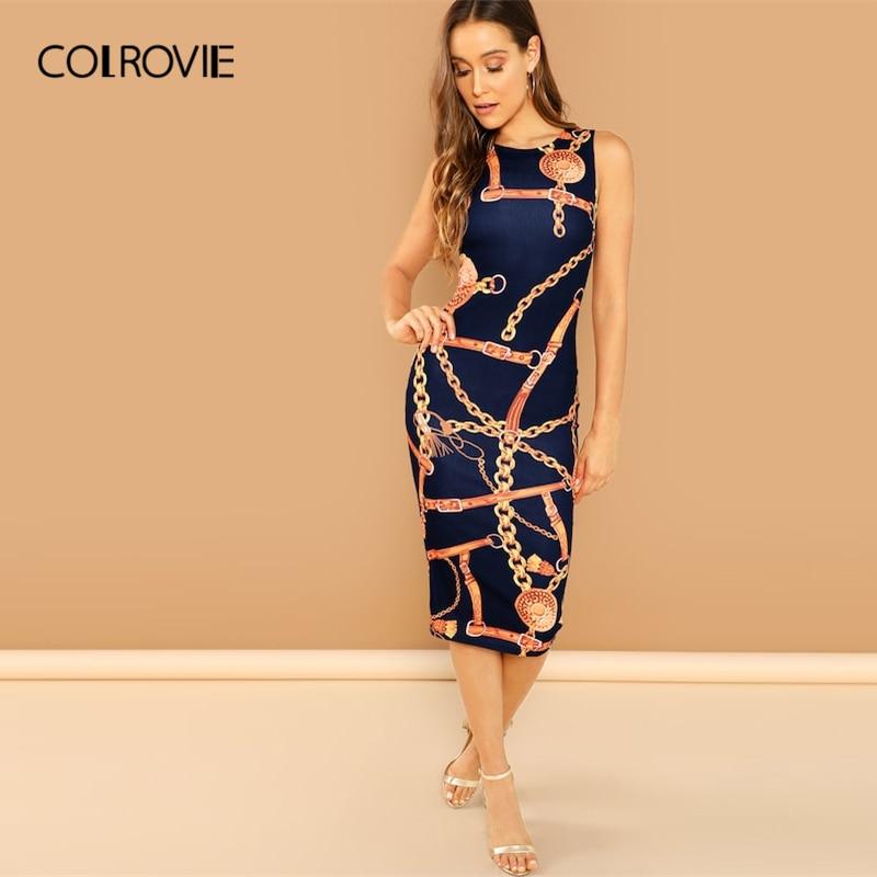 a8205f304e4f023 COLROVIE Темно-Синяя Цепь принт Танк элегантное облегающее платье женское  2019 корейская весна без рукавов миди платье офисные модные платья